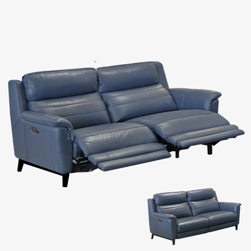 Italian Leather Sofa Edmonton: Power Reclining Sky Blue Leather Sofa